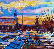 CANADIAN LANDSCAPE HOCKEY ART PAINTINGS WINTER SCENES OF CANADA CAROLE SPANDAU by Carole  Spandau