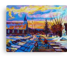 CANADIAN LANDSCAPE HOCKEY ART PAINTINGS WINTER SCENES OF CANADA CAROLE SPANDAU Canvas Print