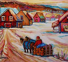BEAUTIFUL PAINTINGS OF CANADA LOGGER WITH SLED CHARMING QUEBEC WINTER SCENE CAROLE SPANDAU by Carole  Spandau
