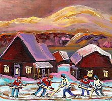 POND HOCKEY IN CANADIAN WINTER SCENE HOCKEY ART PAINTING CAROLE SPANDAU by Carole  Spandau