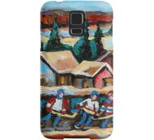 CANADIAN WINTER SCENES POND HOCKEY PAINTINGS COUNTRY SCENES CAROLE SPANDAU Samsung Galaxy Case/Skin