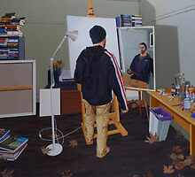 Self Portrait (Mass Effect Hoodie), 2014, Oil on Linen, 121 x 91.5cm. by Jason Moad