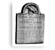 Edgar Allan Poe Tombstone. Creepy Halloween Digital Engraving Image Canvas Print