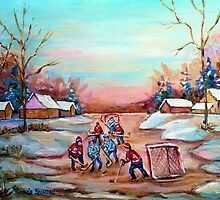 PAINTINGS OF CANADA DEPICTING COUNTRYSIDE POND HOCKEY ART PAINTINGS CAROLE SPANDAU by Carole  Spandau
