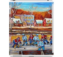 CANADIAN SCENERY POND HOCKEY ART PAINTINGS OF CANADA CAROLE SPANDAU iPad Case/Skin