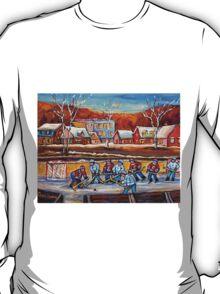 CANADIAN SCENERY POND HOCKEY ART PAINTINGS OF CANADA CAROLE SPANDAU T-Shirt