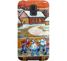 FAMOUS CANADIAN PAINTINGS FOR SALE PONDD HOCKEY IN THE COUNTRY CAROLE SPANDAU Samsung Galaxy Case/Skin