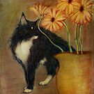 Jasper with daisies by Lynn Starner