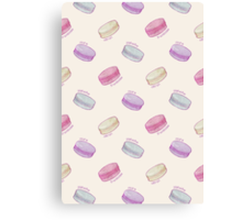 French Macaron Pattern - raspberry, pistachio, lemon & blueberry Canvas Print