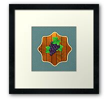 Grapes on a wooden background 2 Framed Print