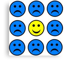 Happy Smiley in a Crowd of Unhappy Faces Canvas Print