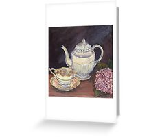 Charlotte's Wedgewood Teapot with hydrangea Greeting Card