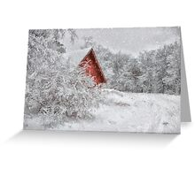Red Shed In The Snow Greeting Card