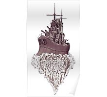 Soul of the Battleship surreal black and white pen ink drawing Poster