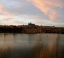 Sunset over the Vltava, Prague by Jennifer Douglas