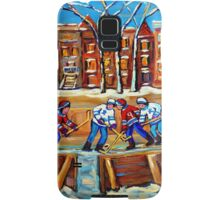 CANADIAN ART URBAN LANDSCAPE PAINTING HOCKEY WINTER SCENE BY CANADIAN ARTIST CAROLE SPANDAU Samsung Galaxy Case/Skin