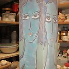 Pot with 4 faces by catherine walker