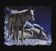 Night Watch - Wolves Oil Painting T-Shirt