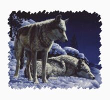 Night Watch - Wolves Oil Painting Kids Clothes