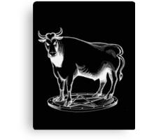 Black and white bull graphic design Canvas Print