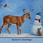 Deer and Snowman Christmas by csforest