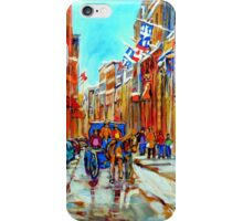 CANADIAN ARTIST PAINTS CANADIAN WINTER CITY SCENE OLD MONTREAL BY CAROLE SPANDAU iPhone Case/Skin
