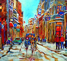 CANADIAN ARTIST PAINTS CANADIAN WINTER CITY SCENE OLD MONTREAL BY CAROLE SPANDAU by Carole  Spandau