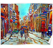 CANADIAN ARTIST PAINTS CANADIAN WINTER CITY SCENE OLD MONTREAL BY CAROLE SPANDAU Poster