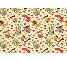 Hear Little Owls Pattern. Photographic Print