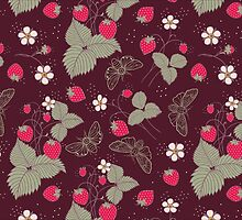 Vintage Berries Leaves Fruit Moth butterfly Wallpaper. by Kimazo