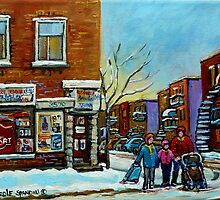 PAINTINGS OF QUEBEC DEPANNEURS WINTER SCENES BY CANADIAN ARTIST CAROLE SPANDAU by Carole  Spandau
