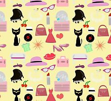 Retro Girly Glam Pattern by mytshirtfort