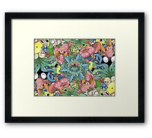 Grass Type Pokémon Collage Framed Print