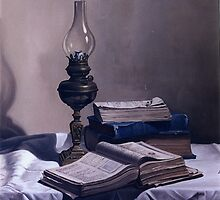 BOOKS  AND LAMP by MiguelNunez
