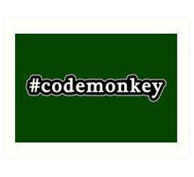 Code Monkey - Hashtag - Black & White Art Print