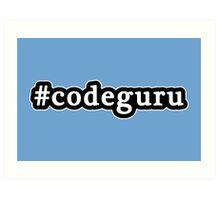Code Guru - Hashtag - Black & White Art Print