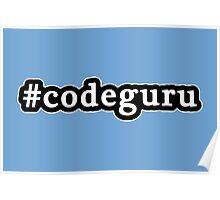 Code Guru - Hashtag - Black & White Poster
