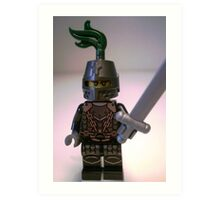 Dragon Knight Minifigure with Scale Mail with Chains, Helmet Closed, & green plume  Art Print