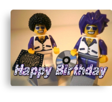 Happy Birthday Greeting Card DJ Clubbing Tru & his Dad Disco Stu (with CD and Record) Minifigs Canvas Print