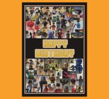 Happy Birthday Greeting Card, Montage of Custom Minifigs by Customize My Minifig