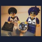 DJ Clubbing Tru and his Dad Disco Stu (with CD and Record) Minifigs, by 'Customize My Minifig' by Chillee