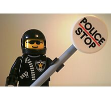 Classic Police Motorcycle Man Cop Minifigure & Police Stop Sign Photographic Print