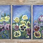 Pansies on Glass Window by artattic