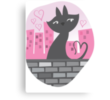 Sweet City kitty on a stone wall Canvas Print