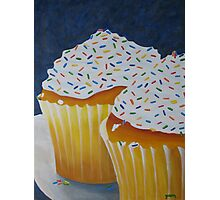 Yellow Cupcakes With Rainbow Sprinkles Photographic Print
