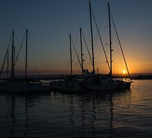 Sicilian Sunset at the Syracuse Harbour  by Georgia Mizuleva