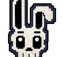 PIXEL ART - RABBIT SKULL (BLUE) by SobhiBecause