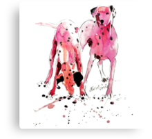 Pink Dalmations by Neil McBride Canvas Print