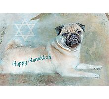 "Pug ""Happy Hanukkah"" ~ Greeting Card Photographic Print"