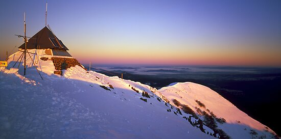 Snow Covered Summit Ridge - Mt Buller - Victoria by James Pierce